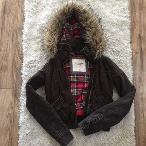Abercrombie & Fitch Bomber Jacket w/ Faux Fur